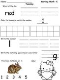 Kindergarten Morning Work- Week 2