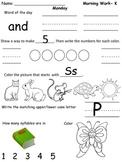 Kindergarten Morning Work- Week 4