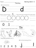 Kindergarten Morning Work- Week 5