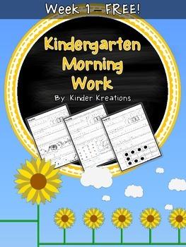 Kindergarten Morning Work - Week One - FREE