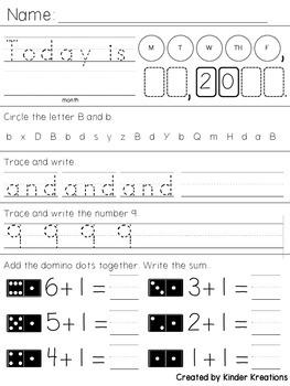 Kindergarten Morning Work - Week Two