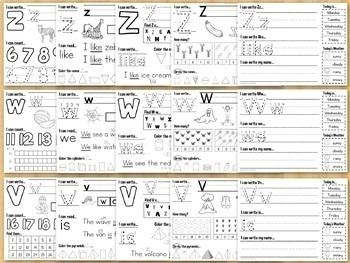 Kindergarten Morning Work Weeks 19-27 Letters, Numbers, Sight Words, Shapes