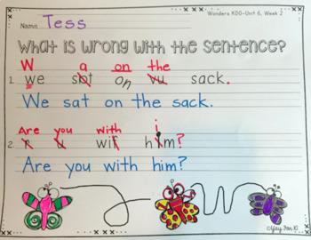 Kindergarten Morning Work:  Wonders Unit 6