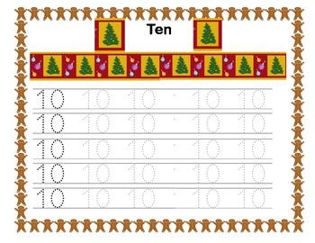 Kindergarten Morning Work Writing the Numbers 0-10  Christmas Fun