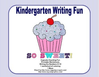 Kindergarten Morning Work Writing the Numbers 0-10 Counting Cupcakes