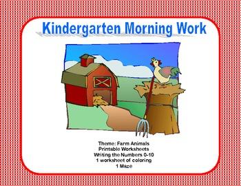 Kindergarten Morning Work Writing the Numbers 0-10  Farm Theme