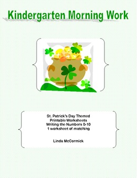 Kindergarten Morning Work Writing the Numbers 0-10 St. Patrick's Theme