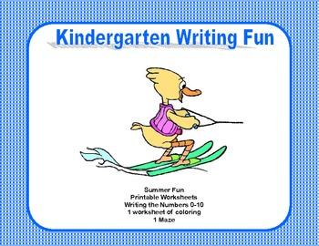 Kindergarten Morning Work Writing the Numbers 0-10  Summer Fun