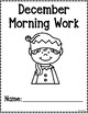 Kindergarten Morning Work for December {Alternative Print Style}
