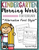 Kindergarten Morning Work for February {Alternative Print Style}