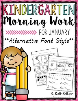 Kindergarten Morning Work for January {Alternative Print Style}