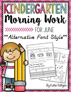 Kindergarten Morning Work for June {Alternative Print Style}