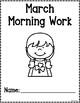 Kindergarten Morning Work for March {Alternative Print Style}