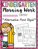 Kindergarten Morning Work for May {Alternative Print Style}