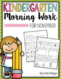 Kindergarten Morning Work for November