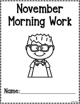 Kindergarten Morning Work for November {Alternative Print Style}