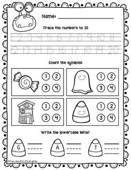 Kindergarten Morning Work for OCTOBER {{Halloween Themed}} SAMPLE