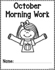 Kindergarten Morning Work for October