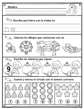 Kindergarten Morning Work in Spanish December