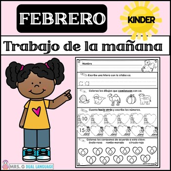 Kindergarten Morning Work in Spanish February