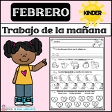 Kindergarten Morning Work in Spanish February / Trabajo de la mañana