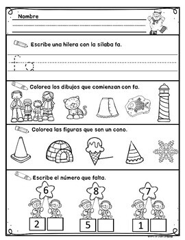 Kindergarten Morning Work in Spanish January