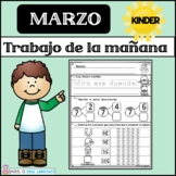 Kindergarten Morning Work in Spanish March