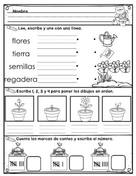 Kindergarten Morning Work in Spanish May / Trabajo de la mañana