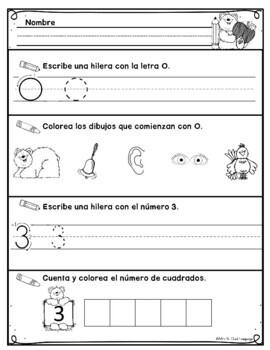 Kindergarten Morning Work in Spanish September