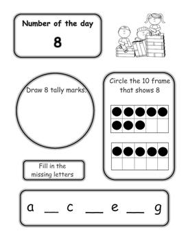 Kindergarten Morning Work/Homework - Back to School