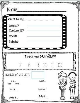 FREE Kindergarten Morning work Numbers 0-100