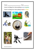 Kindergarten Movement Test - Push / Pull / Roll / Slide / Spin / Bounce
