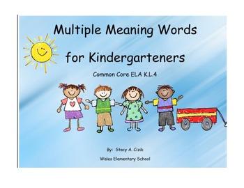 Multiple Meanings- Kindergarten Common Core Activity
