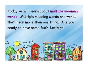 Multiple Meanings- Kindergarten Common Core Activity