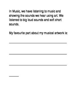 Kindergarten Music Art Reflection Sheet