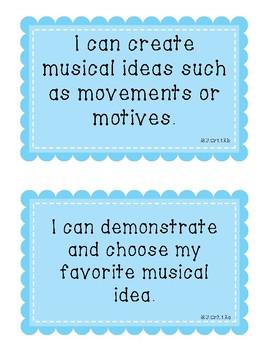 Kindergarten Music I Can Statements