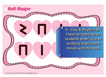 Kindergarten Music Rhythm Bell Ringers/Class starters with Note Head Game