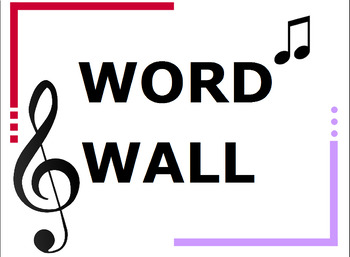 Kindergarten Music Word Wall