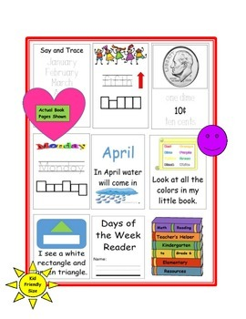 Kindergarten My Little Readers Sight Words 6 Books Shapes Colors Money Days etc