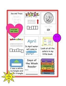 Kindergarten My Little Readers Sight Words 6 Books Shapes Colors Money Days etc