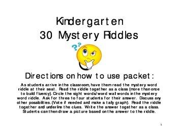 Kindergarten Mystery Riddles
