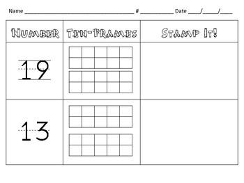 Kindergarten NBT.1: Teen Numbers - Read it, Frame it, Stamp it.