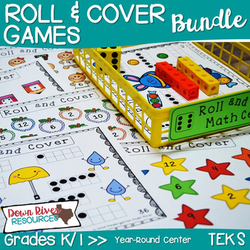 Kindergarten NEW Math TEKS K.2ABCD: 36 Roll and Cover Games Mega Bundle
