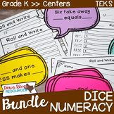 Kindergarten NEW Math TEKS K.2ABCDF, K.3A, K.6AF: Numeracy Dice Bundle