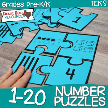 Kindergarten NEW Math TEKS K.2BD: Number Puzzles (Numbers 1-20) | TpT