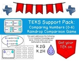 Kindergarten NEW Math TEKS K.2GH: Raindrop Comparison Center Game (Numbers 0-6)