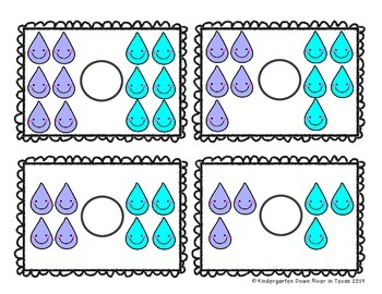 Kindergarten NEW Math TEKS K.2GH: Raindrop Comparison Center Game (Numbers 0-6)