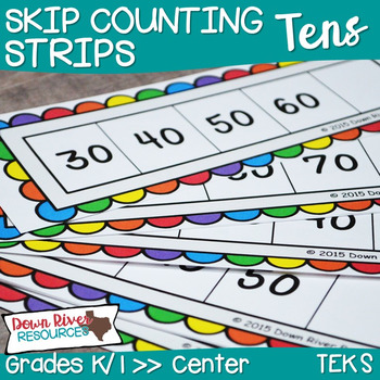 Kindergarten NEW Math TEKS K.5: Skip Counting by 10s Number Strips