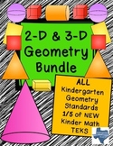Kindergarten NEW Math TEKS: K.6ABCDEF: Complete Geometry 2D & 3D Shapes Bundle