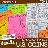 Kindergarten & First Grade NEW Math TEKS: U.S. Coins (Money) Bundle